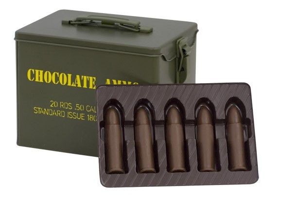 Chocolate Bullet-Military Style Tin. Such a great gift for anyone in the military or any chocolate lover! They have an assortment of different tins, delicious chocolate and gummies! High Five! Such a cool idea! http://www.chocolateammo.com/military-chocolate-novelty-products/chocolate-bullet-chocolate-ammo-military-style-tin.html
