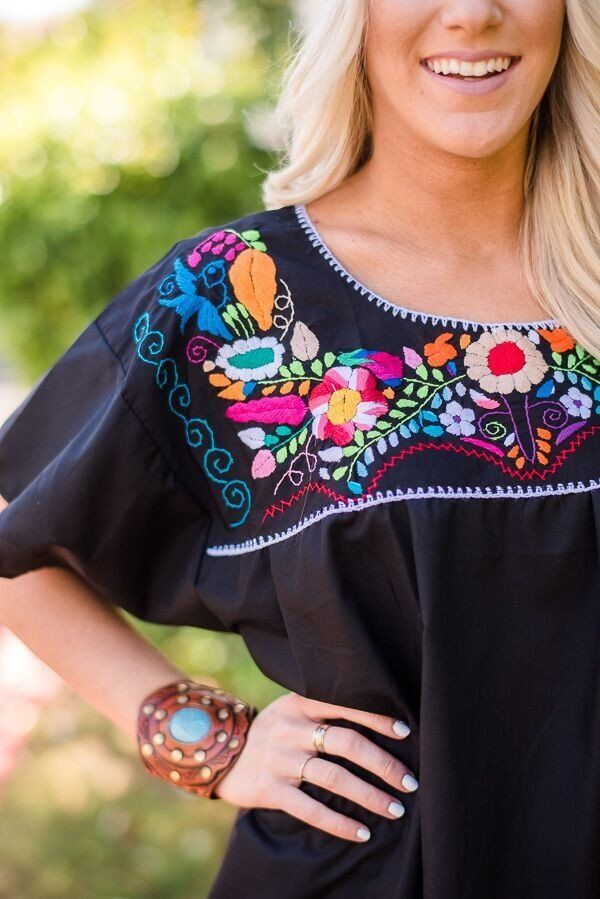 Pueblo Embroidered Mexican Blouse