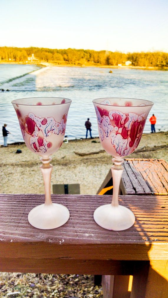 Golden Red Pink Drinking Cocktail Crystal Glasses| Stained Glass Art - Bleeding Love | French Palestinian| Halloween Party Drinkable Decor