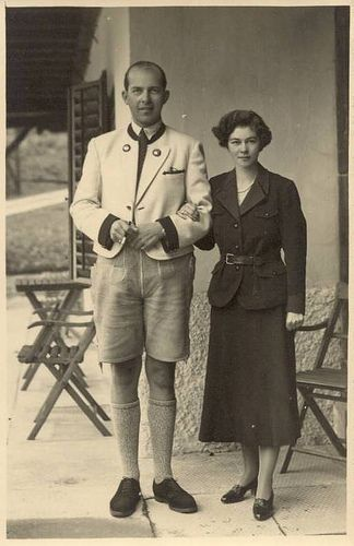 Prince Paul of Greece and Denmark with his fiancee Princess Frederica of Hanover, Great Britain, and Ireland; later King and Queen of Greece