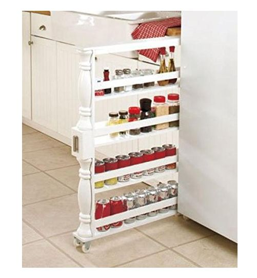 Slim Spice & Can Storage Rack Product Description: Get maximum kitchen storage in a minimum amount of space with this wooden slim spice rack. Nearly 3 feet