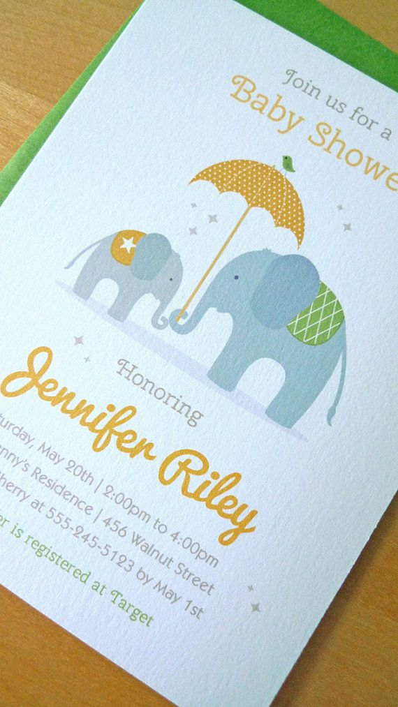Baby Shower Invitation, Elephant Baby Shower Invitaion