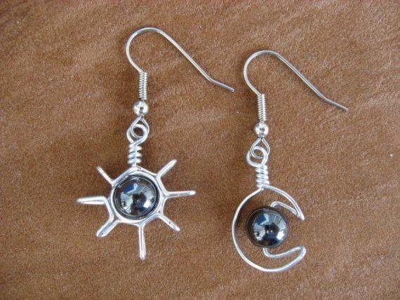 Hematites SUN pendientes luna alambre envuelto