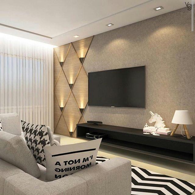 Arandelas Na Decoracao E Iluminacao Interna E Externa Living Room Theaters Tv Room Design Living Room Design Modern Wall interior design living room