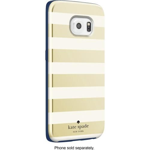 kate spade new york - Hybrid Hard Shell Case for Samsung Galaxy edge Cell  Phones - Candy Stripe Gold/Cream/Navy - Angle Zoom