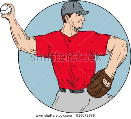Drawing sketch style illustration of an american baseball player pitcher outfilelder throwing ball viewed from the side set inside circle on isolated background.  #baseball #drawing #illustration