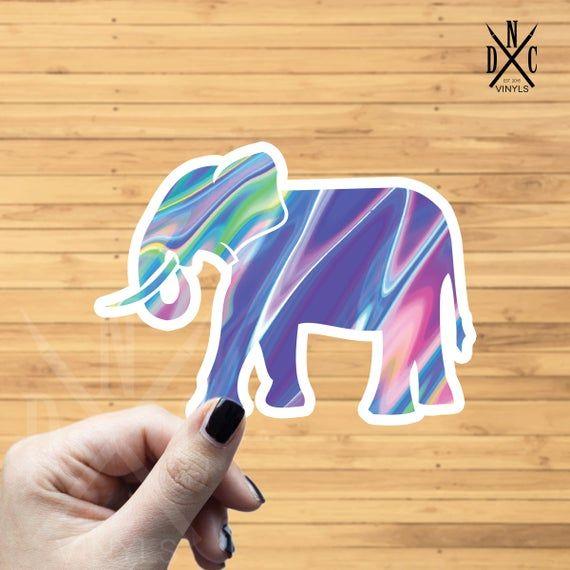 Trippy Elephant Vinyl Sticker, Best Friend Gift, Laptop Decals, Animal Sticker, Decal, Macbook Decal, Stickers Macbook Pro