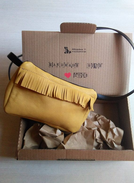 Leather Belt Bag, Mustard Colour Hipster Bag, Leather Fringe Purse, Leather Belt Pouch Mustard Colour OOAK