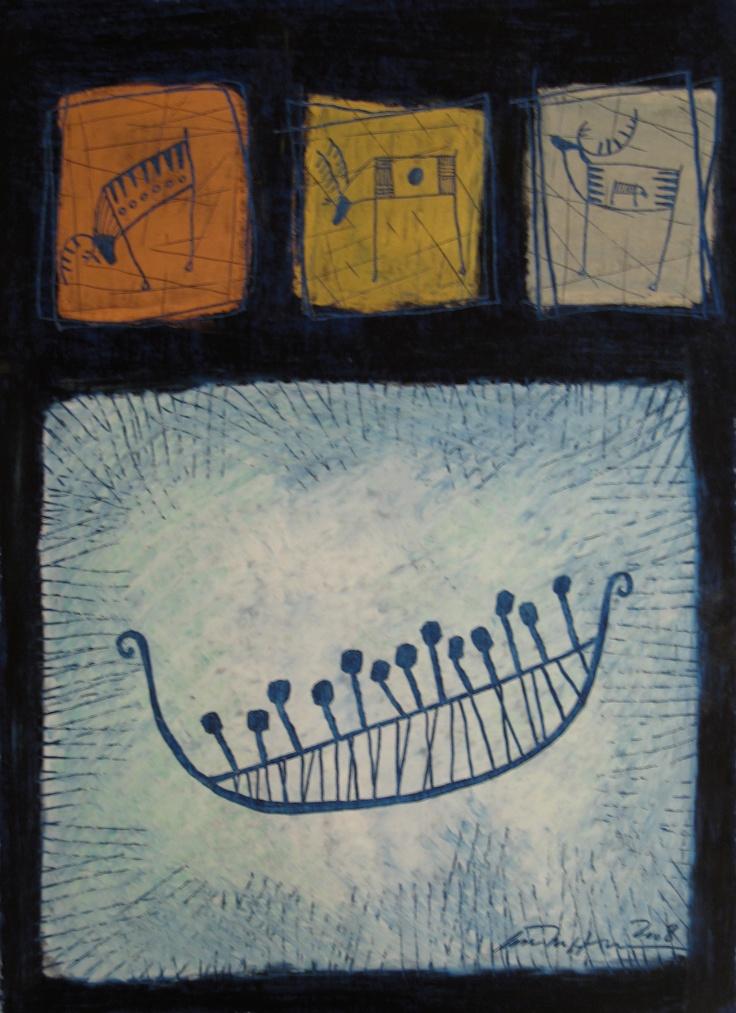 Åse Margrethe Hansen/Finnmark, 2008. Oil pastel on paper