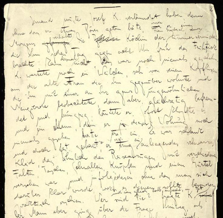 06_Manuskript3.jpg Franz Kafka, Der Prozess, Seite 2 © DLA-Marbach