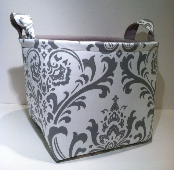 Extra Large 10 X 10 X 10 Fabric Basket Organizer Bin Storage Container   Light Gray Damask Print With Solid Light Gray Interior