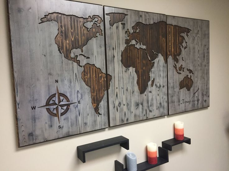 Map Wall Decor Wooden Plank | Wooden Thing