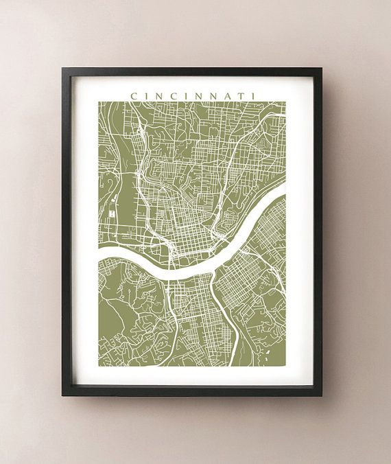 Cincinnati Map - Ohio Poster Print - University of Cincinnati