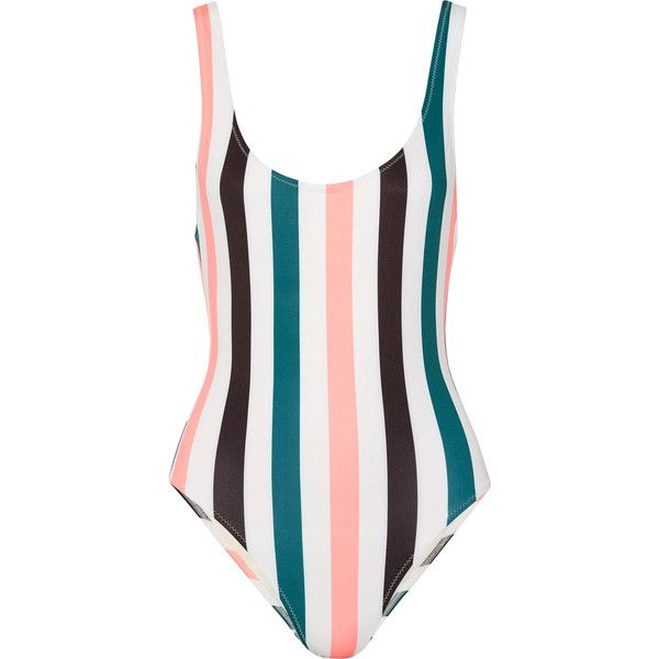 Solid and Striped The Anne-Marie striped swimsuit (1002440 PYG) ❤ liked on Polyvore featuring swimwear, one-piece swimsuits, swimsuit, jade, colorful swimsuits, swimming costumes, colorful bathing suits, scoop back one piece swimsuits and swimsuit swimwear