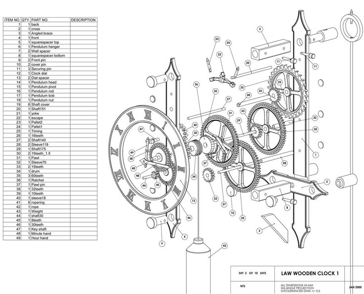 Mechanical Clock Blueprints - WoodWorking Projects & Plans