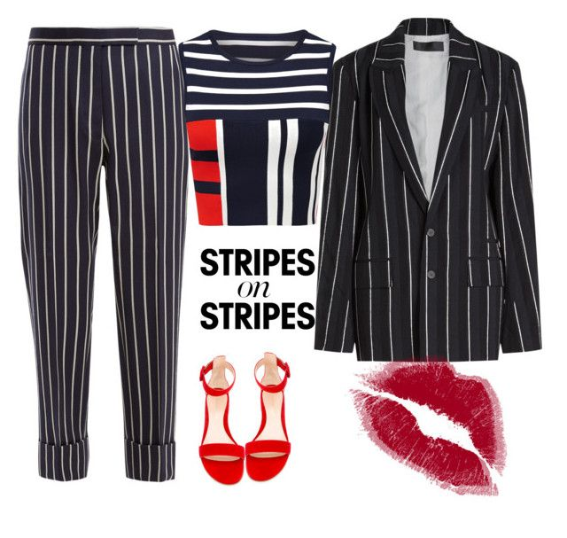 """""""Stripes➖"""" by viviendodesilencios on Polyvore featuring Thom Browne, Haider Ackermann, stripesonstripes and PatternChallenge"""