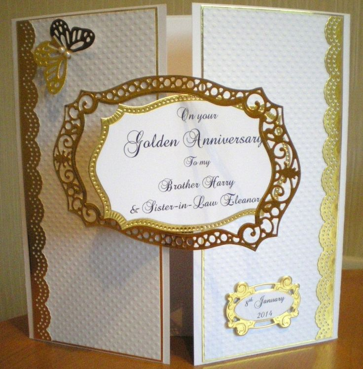 50th Golden Wedding Anniversary using Spellbinders and
