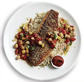 Crisp Striped Bass with Preserved Lemon, Chickpeas, and Couscous recipe