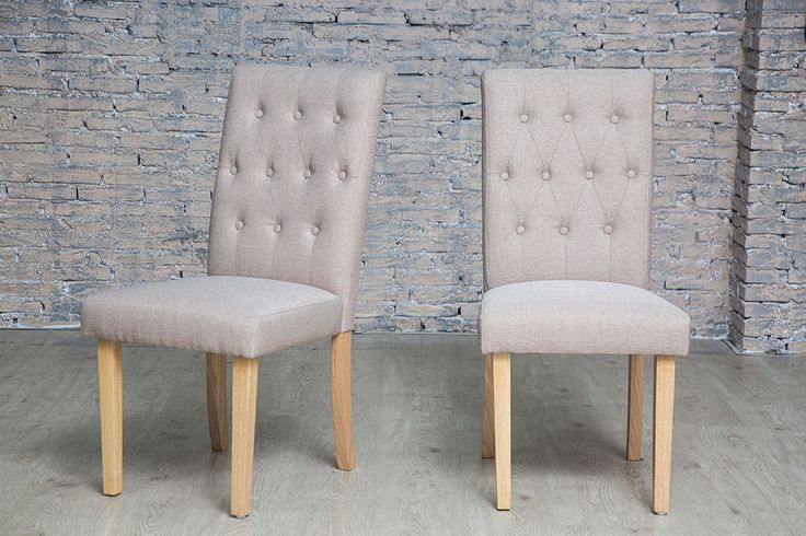 Pair Of Chairs Home Dining Room Upholstered Button Grey Furniture Set Modern