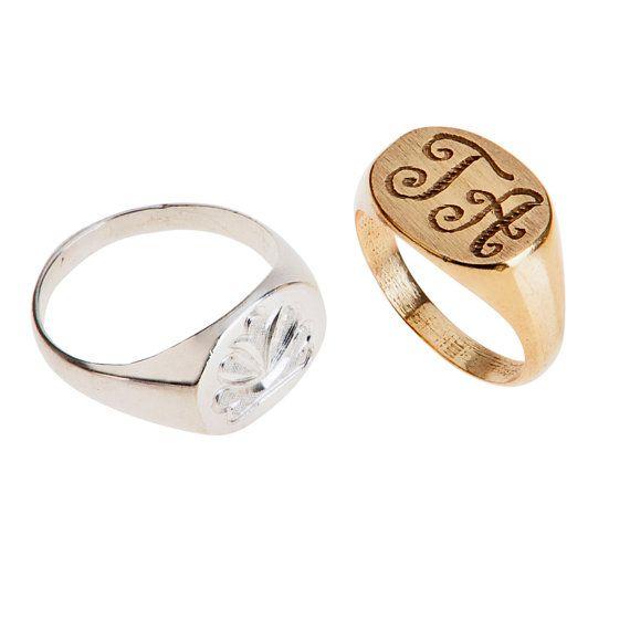 Pinky Monogram Ring Signet Ring Initial Ring by JewelNameMe, $89.00