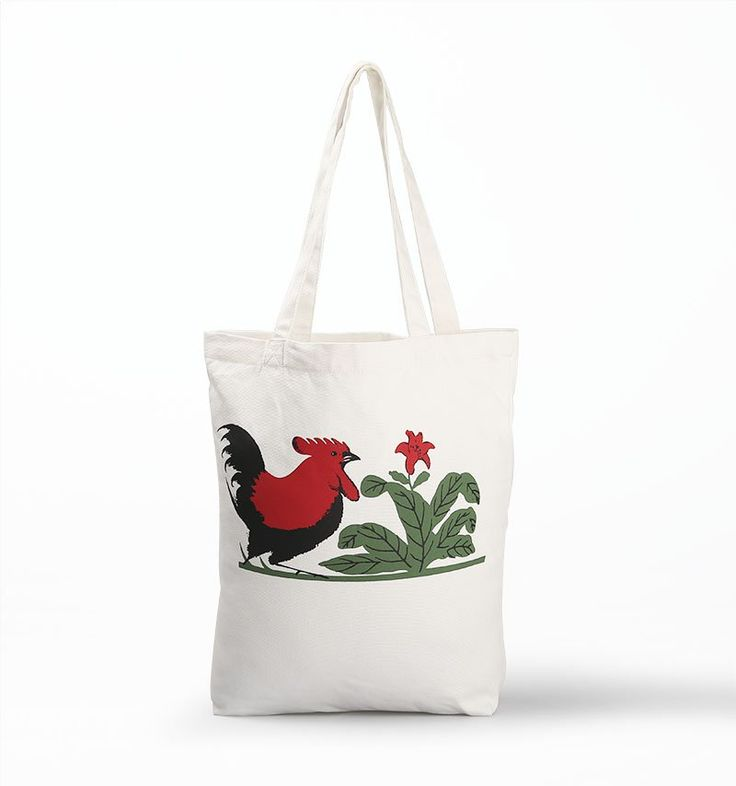 Tote Bag Mangkok Ayam by Mangkok Ayam. A tote bag crafted in canvas as material in white color with cool legendary design of chicken that appears in Indonesia's bowl. The tote bag has size dimension:36cm x 40cm.  http://www.zocko.com/z/JKAwn