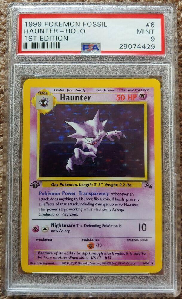 PSA 9 MINT Pokemon 1st Edition HAUNTER Holo Rare Fossil #6//62 1999