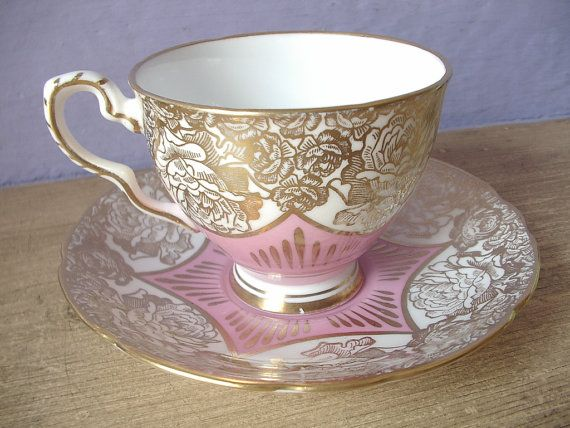 Royal Stafford gold and pink cabbage roses tea cup