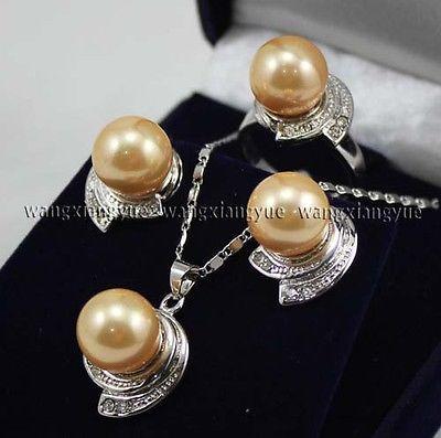Золотой юг морские раковины жемчужные серьги кольцо и ожерелья комплект > 18 К позолоченные часы оптовая продажа кварцевые камень CZ кристалл