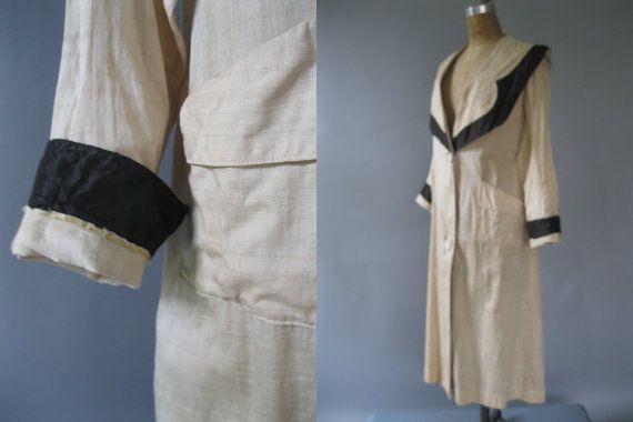 Antique Edwardian Duster Coat  1900s Linen by LadyScarlettsVintage