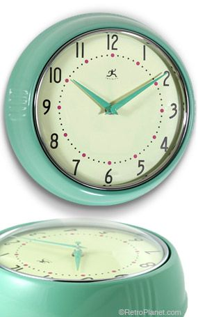 Retro Wall Clock in Green  I just bought a white one with red accents like this at Big Lots for $10 and spray painted the outside of it red.