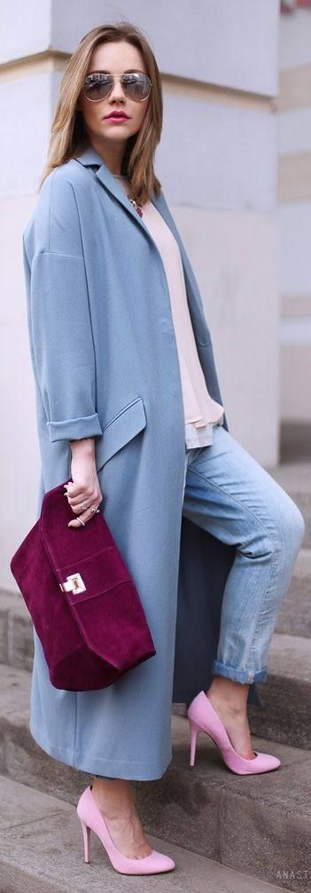Love this long coat for Spring, especially teamed with these baby pink court shoes.