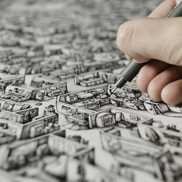 Holy crapola...Amazing Ink Maze illustrations for Saatchi & Saatchi on Behance by Maria Tiurina