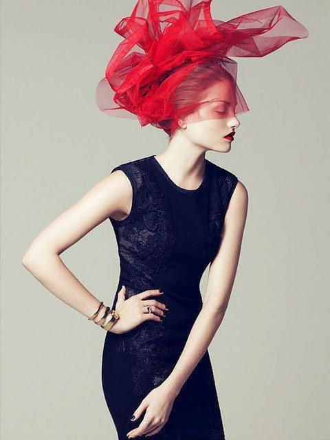 Red veilBlack Lace, Veils, Fashion Models, Colors, Dresses, Red Hats, Head Piece, Headpieces, Fashion Editorial