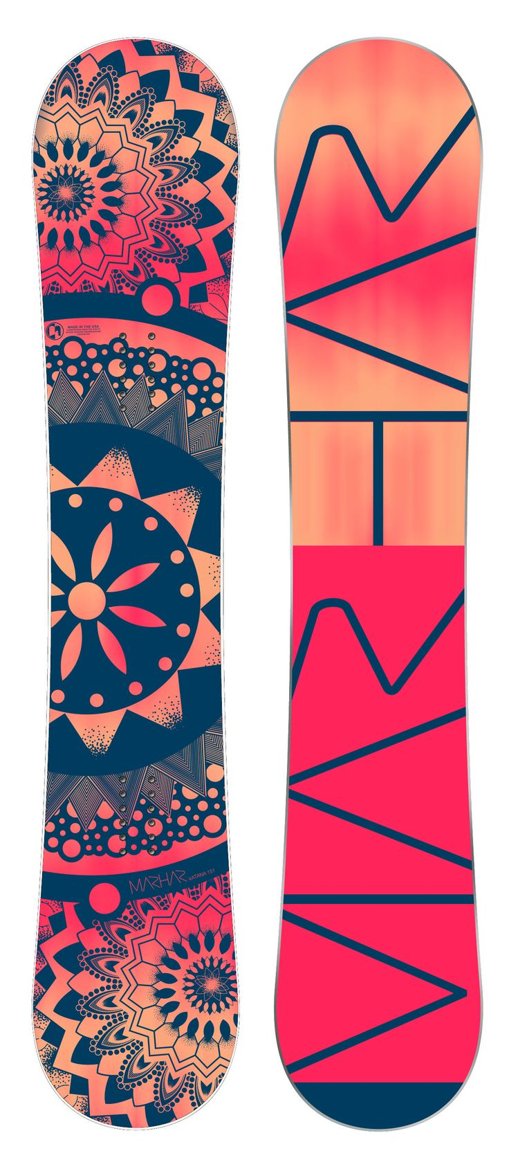 """Katana - Womens Freestyle Snowboard. The Katana is a high end womens park freestyle snowboard. Zero Camber with our Sideways Rocker 3D Base creates pop that will send you to the moon and makes for super easy spins. It has a soft tip and tail for even the most tweaked out butters. The Dual Arc edges allow for laying trenches with those hard carves while the Sideways Rocker creates a loose catch free experience. This deck is perfect for those who like to """"play"""" on their board."""