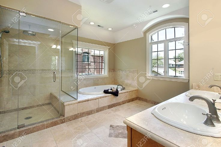shower and tub recessed lighting in upstairs shower, glass door for shower