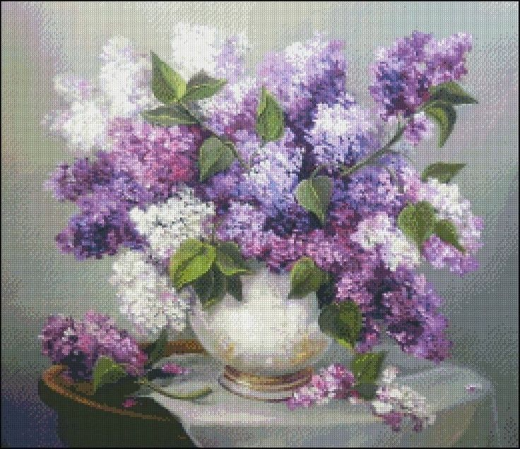 Needlework Crafts Full Embroidery Counted Cross Stitch Kits Lilacs In A Vase Ii