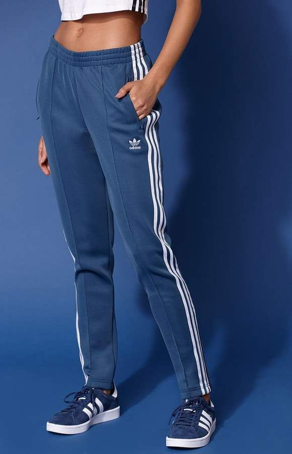 blue adidas pants womens