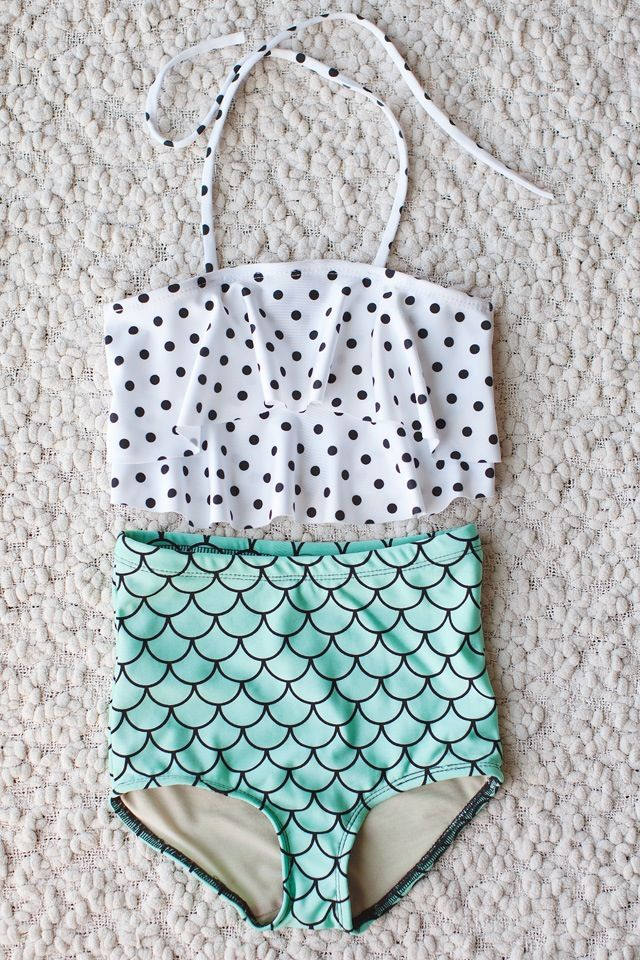 Mermaid high waist bathing suit with polka dot ruffle top for little girl's