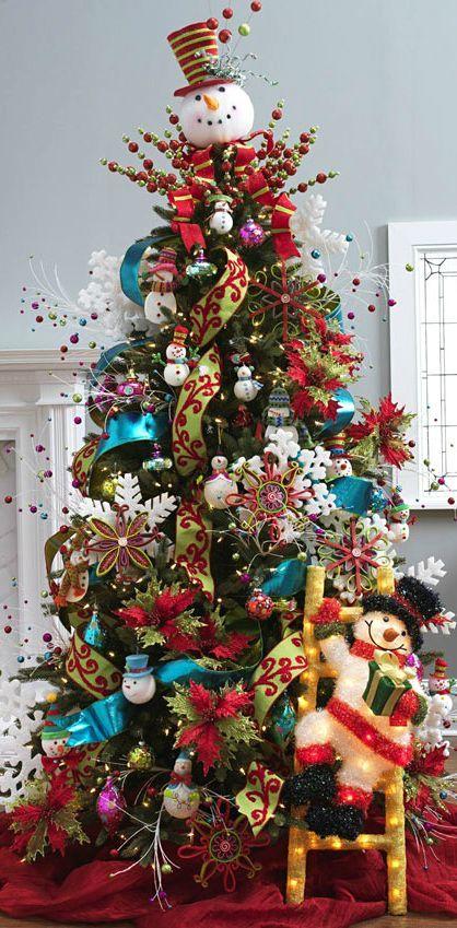 Arbol de navidad con temática de muñecos de nieve. #DecoracionNavidad