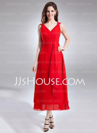 Bridesmaid Dresses - $99.99 - A-Line/Princess V-neck Ankle-Length Chiffon Bridesmaid Dress With Ruffle (007004232) http://jjshouse.com/A-Line-Princess-V-Neck-Ankle-Length-Chiffon-Bridesmaid-Dress-With-Ruffle-007004232-g4232