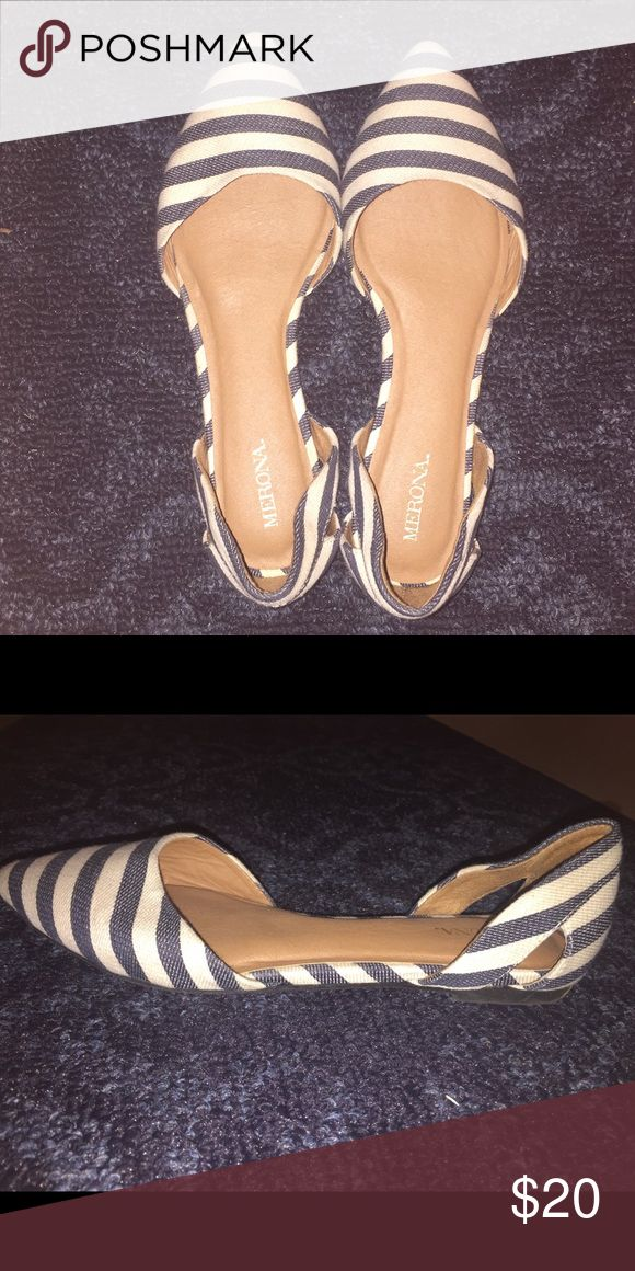 Striped Blue and White Flats Striped blue and white. Only worn a few times so there is a little bit of wear on the bottoms but they are still in really good condition. Really cute for brunch or just everyday use wear! Merona Shoes Flats & Loafers