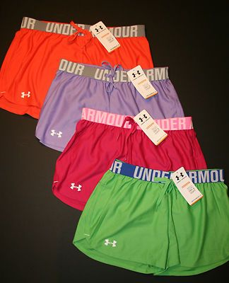"Under Armour Women's Play Up 3"" Shorts 1228385 Orange Pink Purple Green New 