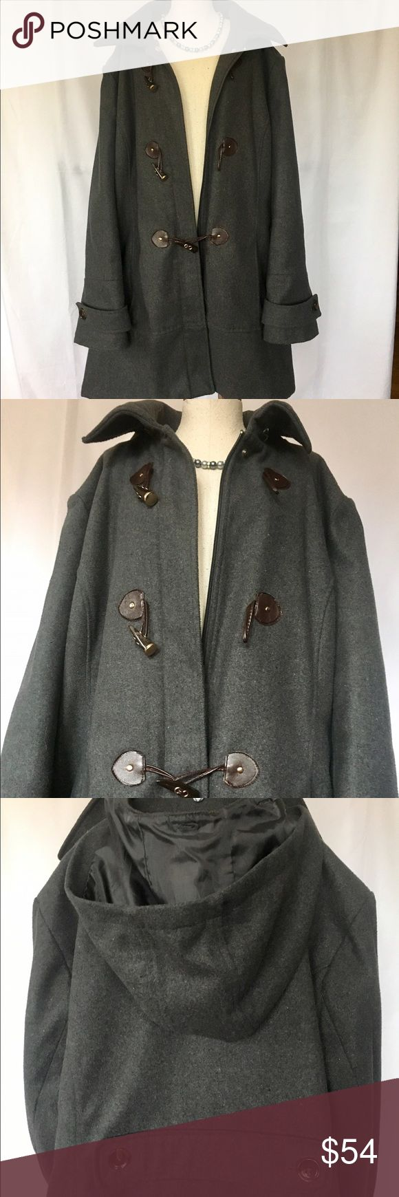 Grey Pea- Coat Great Grey Color, Hidden Zipper in Front with 3 Faux Tusk & Bands (Really Latch :).   Has Detachable Hood, Super Cozy- Jackets & Coats Pea Coats