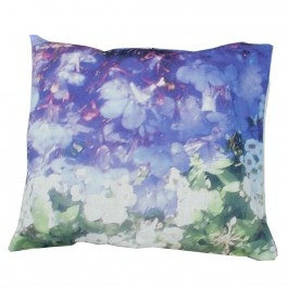"Striking washed ""Lily and Violet"" floral print linen cushion, inspired by nature, urban influences and contemporary art the collection is a beautiful mix of all of these elements."