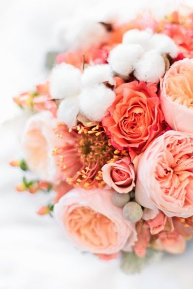 peach and pink florals with cotton mixed in captured by Dabble Me This http://dabblemethis.com/