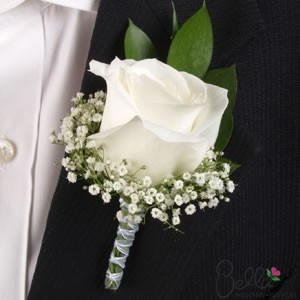 White rose & baby's breath boutonnieres for the Groom, Father of the Bride & Father of the Groom