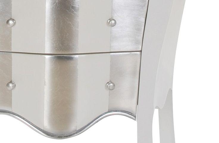 Kommode Barock - Mahagoni massiv - weiß/silber - lackiert