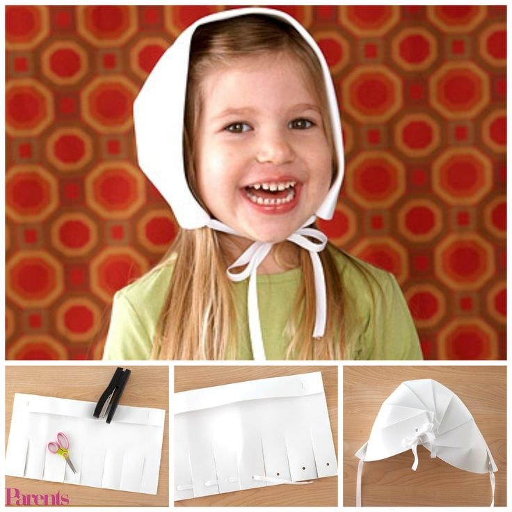 DIY Pilgrim Bonnet | Fold over one long edge of a piece of white crafts foam to create a 2-inch-wide brim. Staple it once on each side to hold it in place. Make seven evenly spaced 4-1/2-inch-long cuts on the long unfolded edge for a total of eight flaps.Punch a hole 1 inch from the edge at the center of each flap. Thread a 24-inch piece of white grosgrain ribbon down through the hole of the first flap. Pull the ribbon from each side to meet at the center.