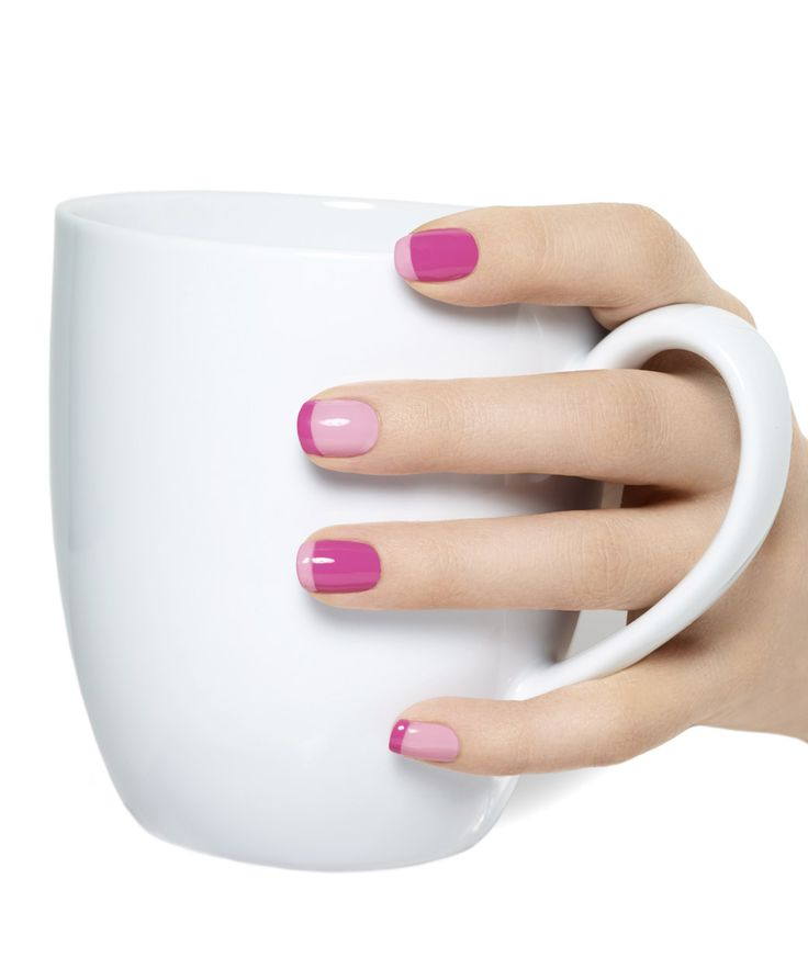 Two-toned nails.  I care for the pink, but this could be done with any color.  It's adorable!