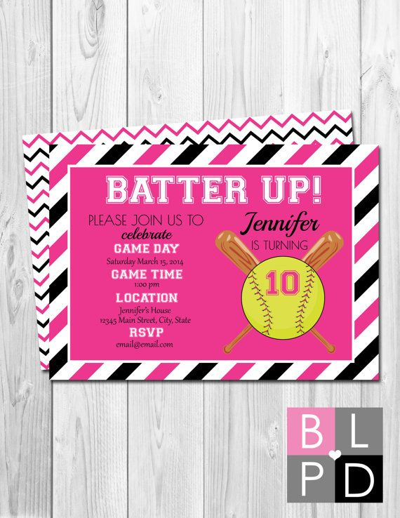 Softball Birthday Party Invitation  Batter Up  by BeccaLeePaperie